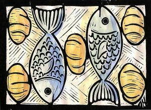 Feeding of the many. John 6:1-21. 1999 Mark A Hewitt. Lino cut & water colour.
